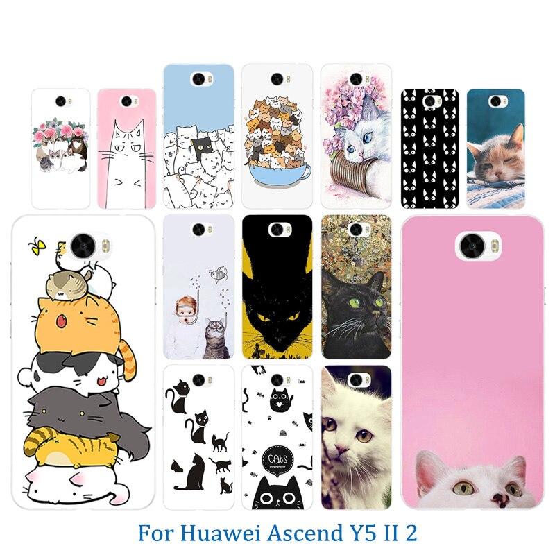 ТПУ чехлы Телефон для huawei Y5 II Y5ii <font><b>Y52</b></font> крышка удача кошка узор 5,0 &#8220;силиконовый чехол для Honor 5A LYO-L21 CUN-U29 крышка