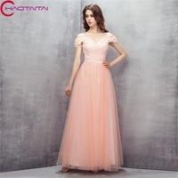 2018 Prom Dresses A Line Party Dresses Pink Off Shoulder Lace Evening Prom Long Elegant Women