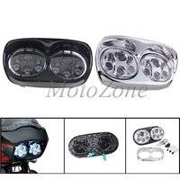 Аксессуары для мотоциклов Запчасти налобный фонарь с двойным светодиодом проектор Комплект для фары для Дорожное покрытие для харлея 2004 2013
