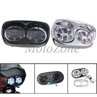 Motorcycle Accessories Parts Dual LED Headlight Projector Headlamp Suit For Harley Road Glide 2004 2013 Black/Chrome