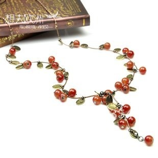 Ancients Sweet Season for Small Cherry decorated Lovely  Long Chain Necklace/Sweater Chain