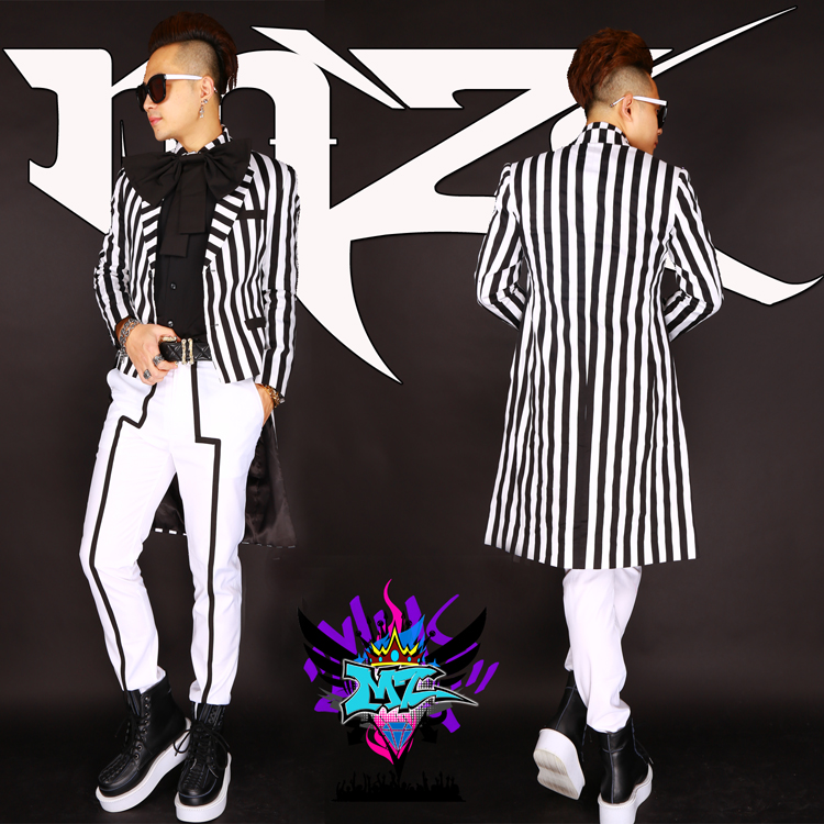 S XXXL New 2018 new nightclub male singer DJ stage tuxedo suit GD black and white striped suit sets singer costumes
