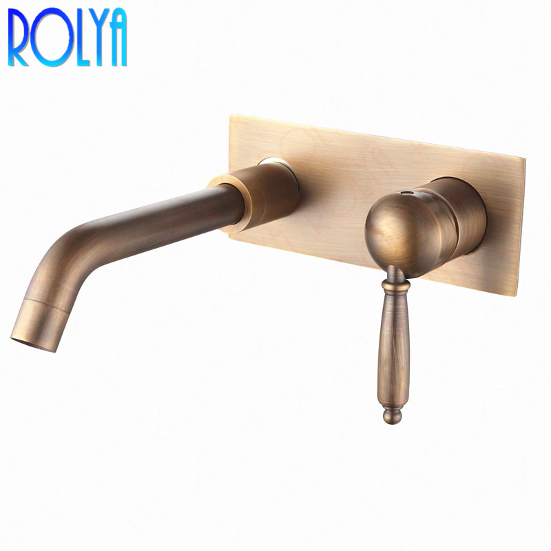 Rolya Vintage Antique Brass In Wall Bathroom Faucet with Plate Old Style Basin Mixer Taps