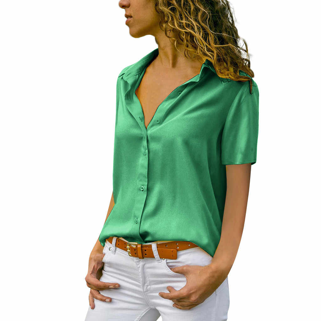 Women Summer Blouses Short Sleeve Turn Down Collar Office Button Shirt Lady Button Chiffon womens tops and blousesPullover Tops