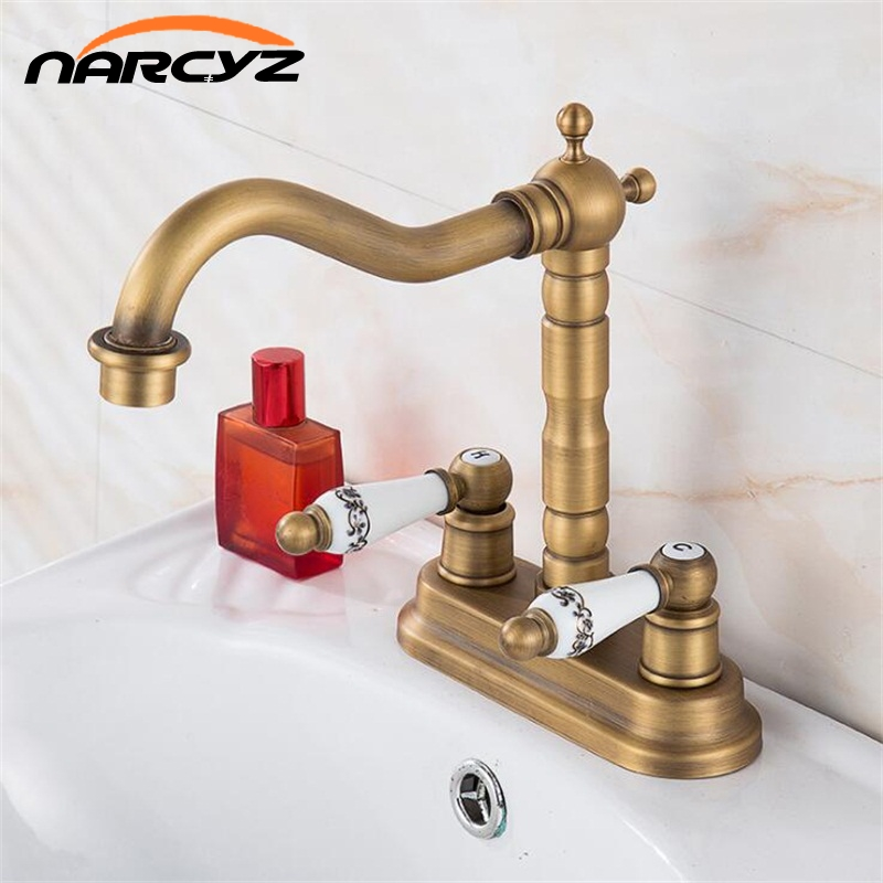 New style arrival high quality antique brass luxury bathroom dual lever dual hole design sink faucet