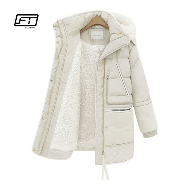 Cotton Padded Long Hooded Parka Warm Wool Coat