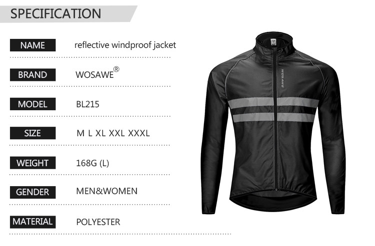 WOSAWE High Visibility Men's Cycling Jackets MTB Bike Sports Windbreaker Lightweight Reflective Waterproof Rain Coat M-3XL