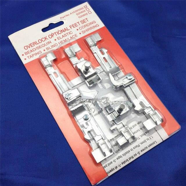 1 Set 6 stks Naaivoet Optioneel Overlock Voet Voeten Kit voor Juki Lock MO-50E MO-51E Zanger QuantumLock 14T948, 14T957, 14T968 7YJ33