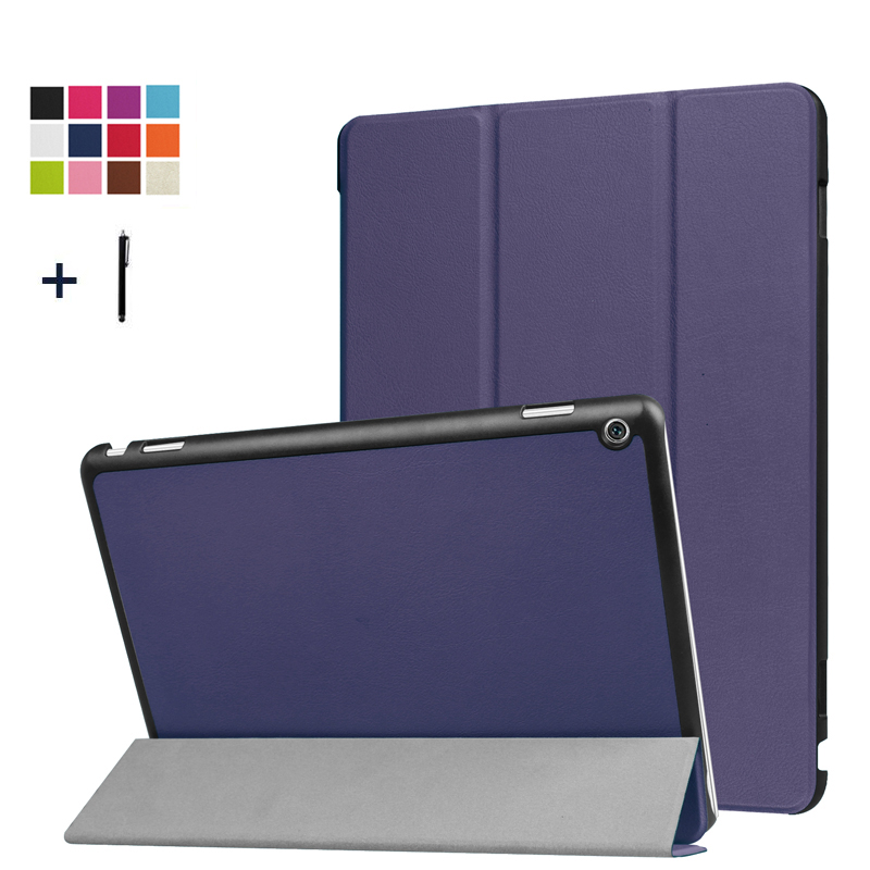 For Huawei MediaPad M3 Lite 10 inch Case Slim Flip Cover For Huawei M3 Lite 10.0 Tablet 3 Fold Stand Leather Fundas Shell+Stylus for huawei mediapad m3 lite 10 case silicone crystal case cover for huawei mediapad m3 lite 10 1 bah w09 bah al00 tablets cover