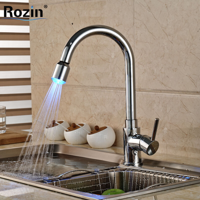 ФОТО Chrome Brass LED Light Kitchen Mixer Faucet Deck Mount Single Lever Water Taps Rotation Deck Mount