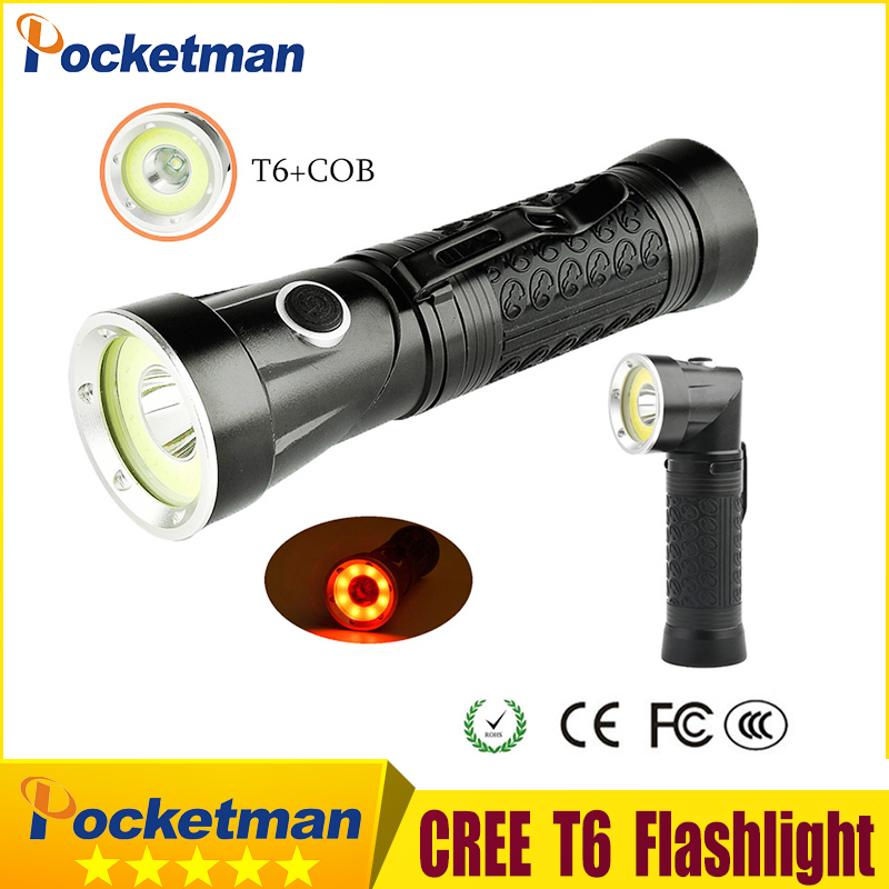 Newest XML-T6+Red COB 2300Lumens Head can rotate Magnetic Tail LED 18650 Flashlight 4-Mo ...