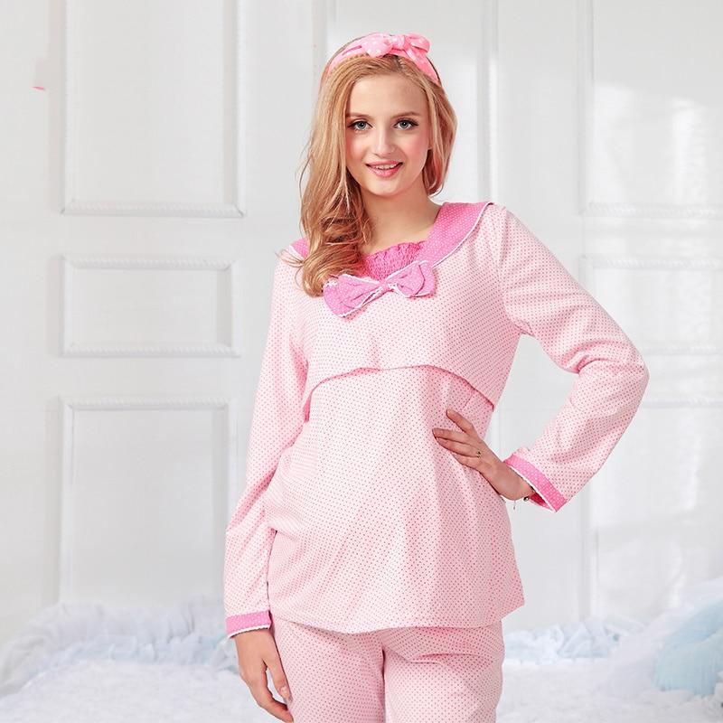 Maternity Nursing Nightwear Women 2016 Summer Pigiama Allattamento Sleepwear Pajamas Cotton For Women Pregnant Cute 50M067