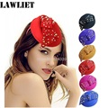A252 Ladies Fancy Wool Jewel Crystal Disc Headband Fascinator Hats for Women Winter Pillbox Hats For Party Female Cocktail Cap