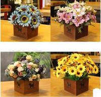 Wooden Plastic Pot Flowers Flower Pot Simulation Flower Wedding Decoration Exquisite Desk Ornament