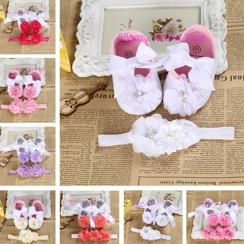 2015 Ny pige spædbarn tiara baby sko hvide første vandrere, billige nyfødte sko; toddler booties med perlehovedbånd sæt