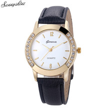 New Casual Women Watch Diamond Rhinestone Analog Quartz Wrist Watches Elegant Ladies Girl Leather Watch Sale relogio femininoF3