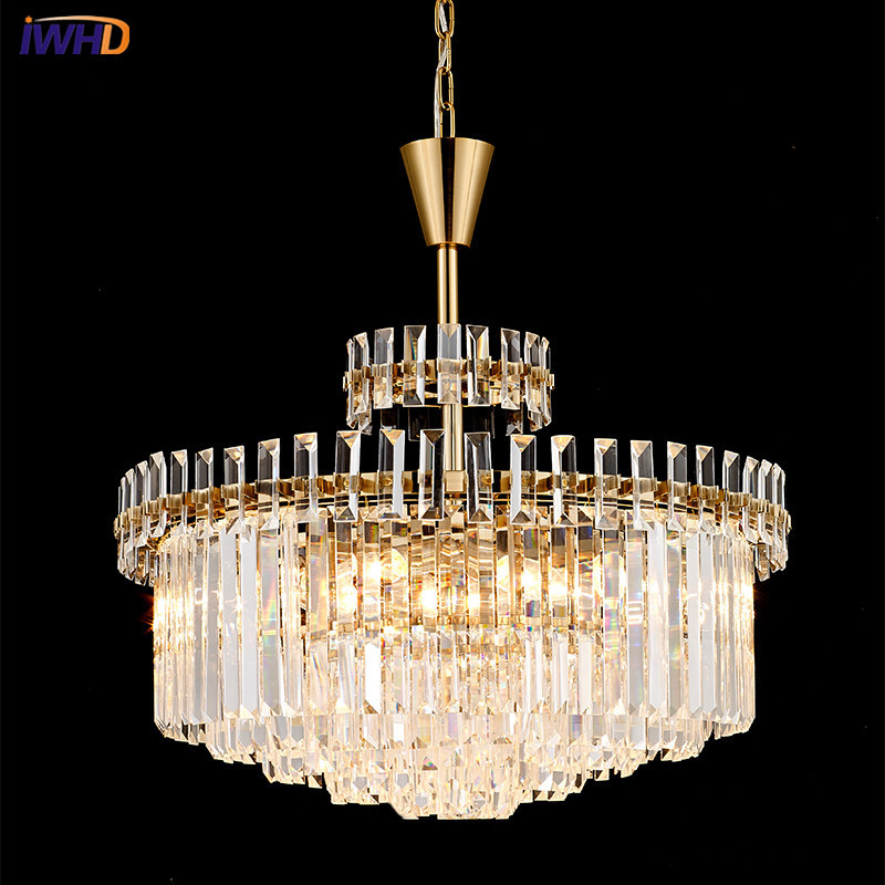 IWHD Luxury Crystal LED Pendant Lights E14*9 Modern Simple Crystal Hanglamp Creative Fxitures Home Lighting Luminaire SuspenduIWHD Luxury Crystal LED Pendant Lights E14*9 Modern Simple Crystal Hanglamp Creative Fxitures Home Lighting Luminaire Suspendu
