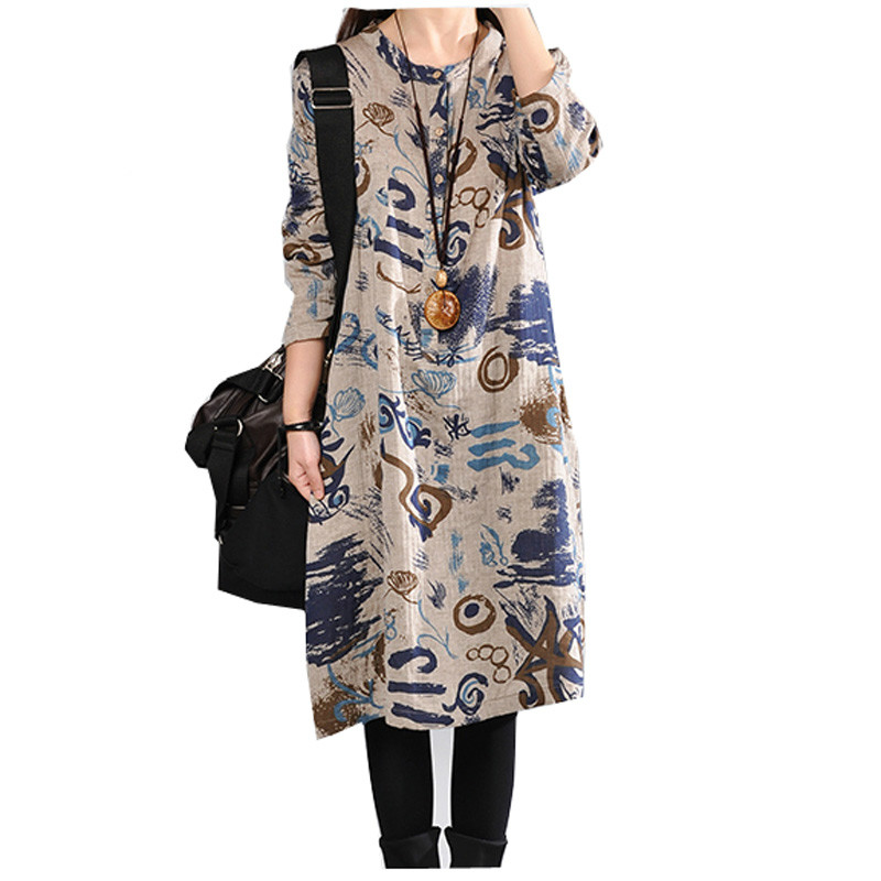 P Ammy Oversized Linen Cotton aztec patterned Jumper Dress Ladies Autumn  Long Sleeve O Neck Loose Tunic Dress-in Dresses from Women s Clothing on ... c18b50833e9e