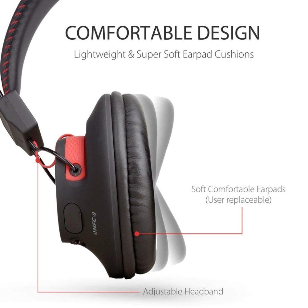 Avantree 40 heures DOUBLE Mode Bluetooth Sur L'oreille Casque avec Mic, Super CONFORTABLE, Sans Fil et Filaire, aptX Salut-fi NFC Casque - 2
