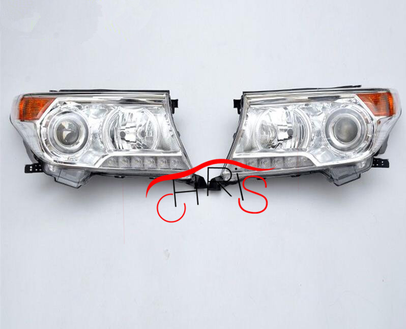 Chrome Housing LED HeadLights For TOYOTA Land Cruiser LC200 FJ200 2008-2014  Head lamp car styling abs chrome door body mouldings protection liner garnish covers strip 4pcs for toyota land cruiser lc200 2008 2017
