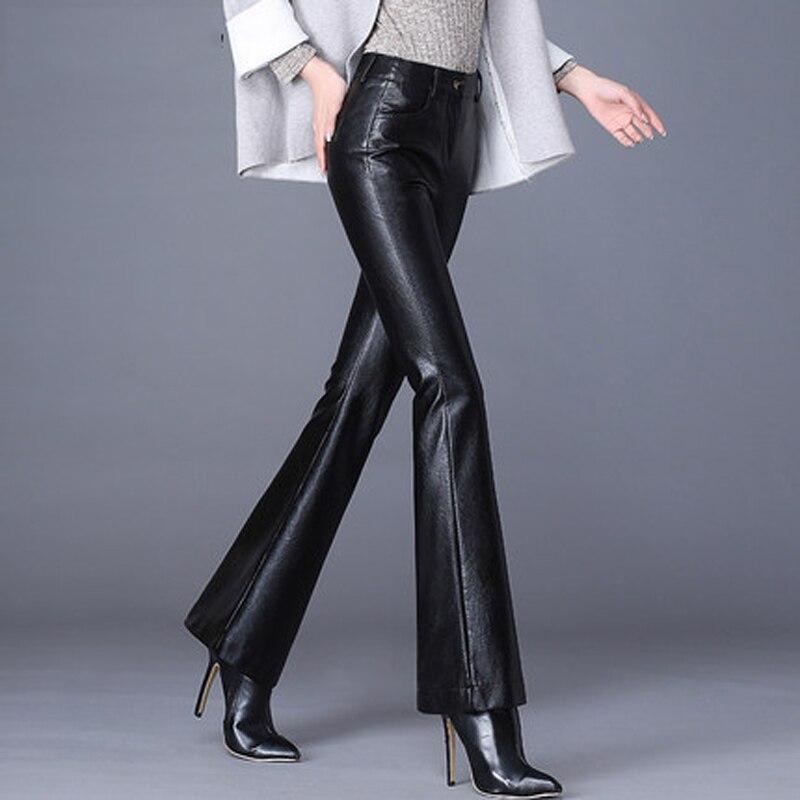 Femmes printemps et automne nouvelle taille haute était mince élastique pantalon de cuir synthétique polyuréthane noir hiver plus velours porter micro-corne pantalon