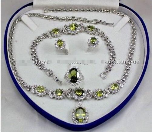Charming!Peridot Inlay Link Bracelet earrings Ring Pendant Necklace Set>>>silver earrings for women Free shipping a suit of charming rhinestone hollow out necklace bracelet ring and earrings for women