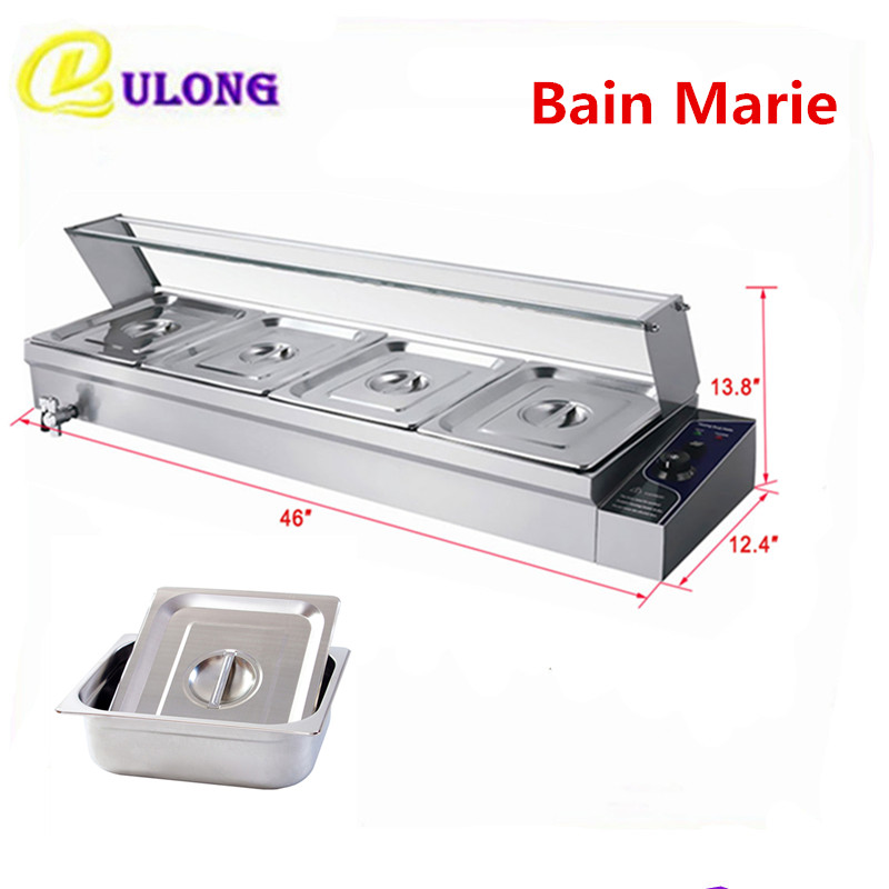 1.5KW Food Warmer Equipment 4 Pans Bain Marie Countertop Heat Warming Tool Commercial Restaurant Hotel