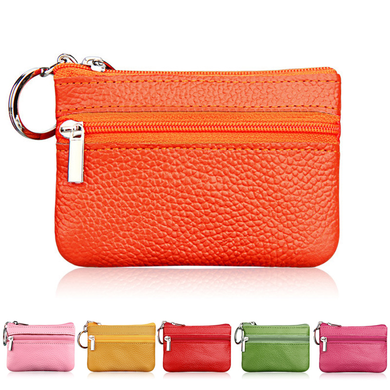 Fashion Zipper Coin Purse Genuine Cow Leather Case Women Coin Pocket Colorful Card Holder Mini Money Bag Wallets