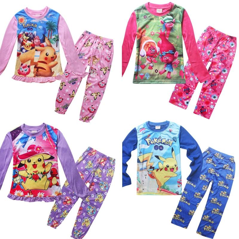 Hete Verkoop 2018 Nieuwe Herfst Hot Koop Moana Nieuwe Katoenen Baby Pyjama Leuke Pokemon Kinderen Trolls Pyjama Kids Baby Pikachu Kleding 2 Stks/set Handig Om Te Koken