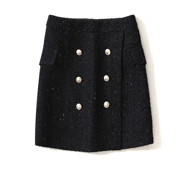 938901b32 US $21.94 53% OFF Aliexpress.com : Buy Black tweed skirt bright silk tweed  2019 spring / autumn women's skirt double breasted high waist hip skirt ...
