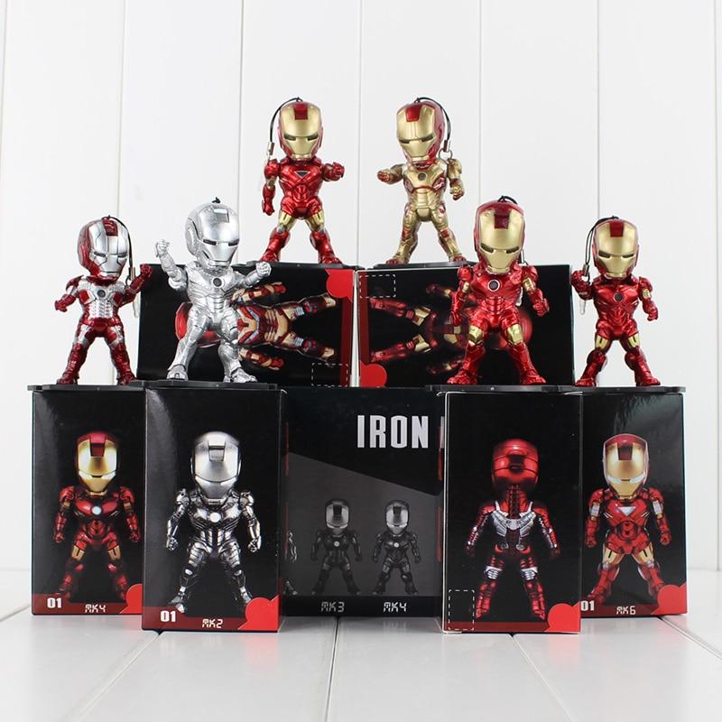 6pcs/set Super Heroes Mini Egg Attack LED Iron Man 3 PVC Figure Toy Cell Phone Pendants With Box Free Shipping game heroes jinx figure l o l loose cannon 12cm pvc toy color box free shipping