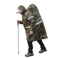 Outdoor Raincoats Storage Bag Backpack Rain Cover Poncho Cape Hiking Camping Climbing Camouflage Blue Orange