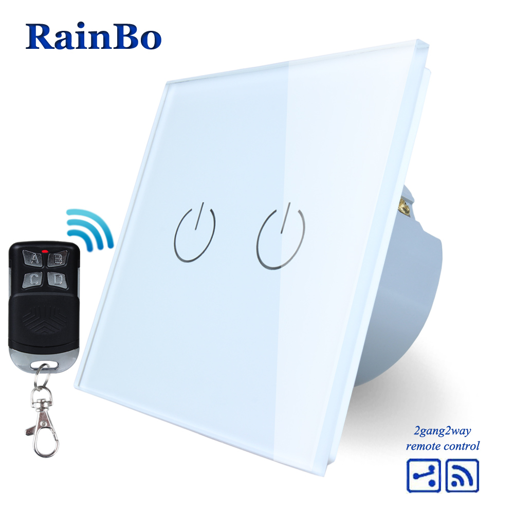 RainBo Remote Touch Switch Screen Crystal Glass Panel wall switch EU 110~250V Wall Light Switch 2gang2way A1924W/BR01 2017 smart home crystal glass panel wall switch wireless remote light switch us 1 gang wall light touch switch with controller