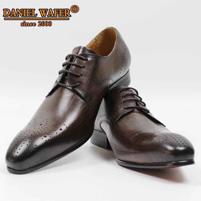Mannen Echt Leer Derby Schoenen Kantoor Business Wedding Lace up Puntschoen Koffie Zwarte Schoenen Brogue Mannen Formele Schoenen Leer