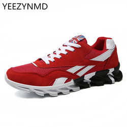 Homens Sapatos Da Moda Malha Respirável Rendas Até Sapatos Casuais Homens Azul vermelho Dos Homens Zapatillas Hombre HOT Plus Size 39-46 Masculino calçado