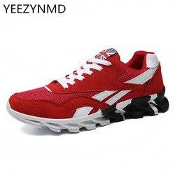 Homens sapatos casuais moda respirável malha rendas até sapatos homens vermelho azul masculino zapatillas hombre quente mais tamanho 39-46 calçados masculinos
