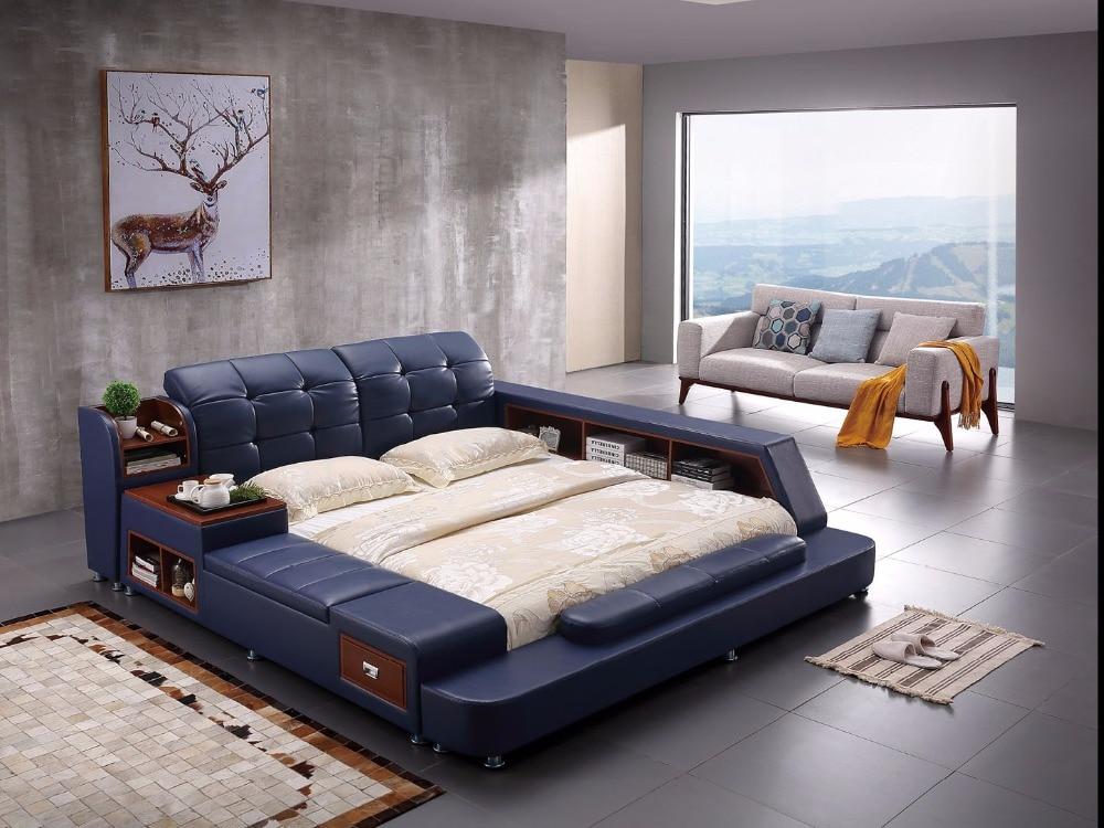 Из натуральной кожи кровать рамки современной мягкие кровати с хранения дома Спальня мебель Кама muebles де dormitorio/камас кварто