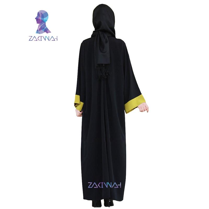 Zakiyyah Žene Abayas Šifon crni dugi rukav muslimanski caftan - Nacionalna odjeća - Foto 2