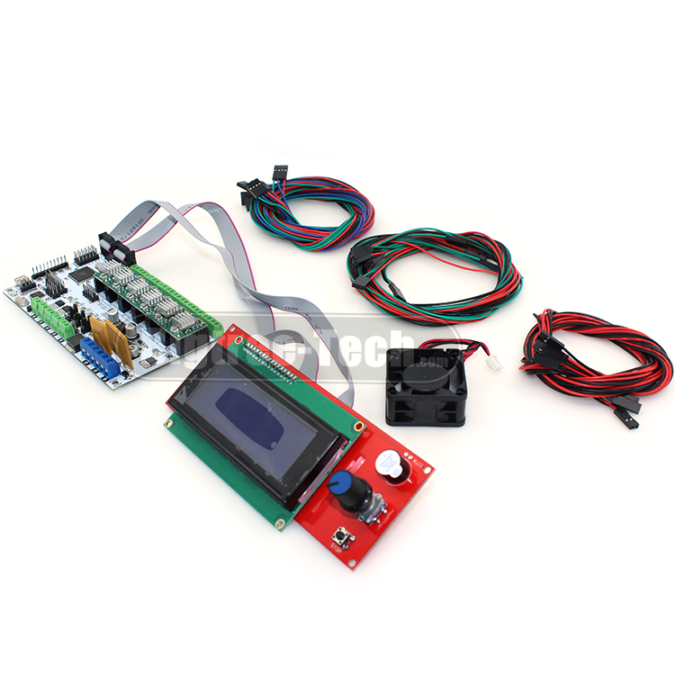 BIQU Rumba 3D printer control board DIY+cooler fan +LCD 2004 controller display +jumper wire +DRV8825 Stepper driver for reprap biqu rumba control board for 3d printer motherboard rumba mpu rumba optimized version with 6pcs a4988 stepper driver