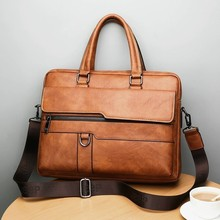 купить New Men Briefcase Bags Business Leather Bag Shoulder Messenger Bags Work Handbag 14 Inch Laptop Bag Bolso Hombre Bolsa Masculina по цене 1715.95 рублей