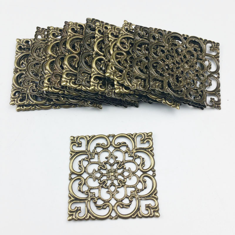 40mm 20pcs Wholesale Filigree Crafts  Hollow   Embellishments Findings,Jewelry Accessories,Bronze Tone Ornaments