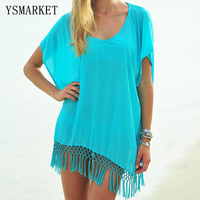 New Chiffon Beach Tunic Women Beachwear Female Sexy Summer Bikini Beach Cover Up Solid Colors Hollow