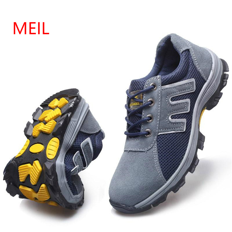 2018 New Fashion Cow Suede Safety Shoes Steel Toe and Sole for Men Anti-smashing Work Boots Work Shoes Safety Boots Big Size 46 big size for men boot safety protective shoes cover man rubber safety shoes cover non slip anti smashing steel toe work shoes