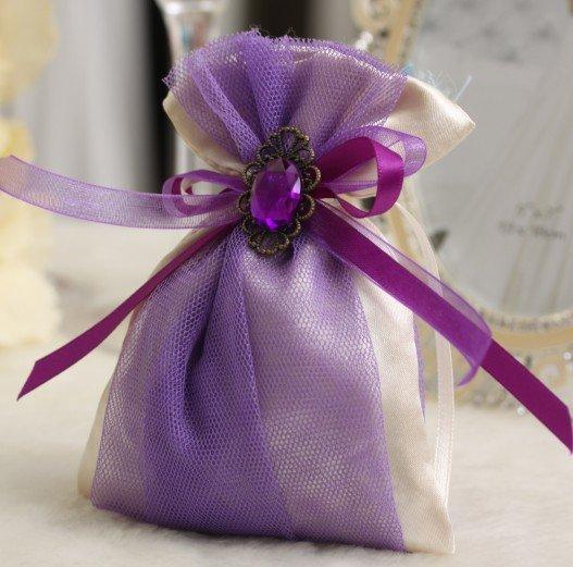 Purple Color Satin Candy Bag Gift Box D 2 Z 001 Wedding Favors