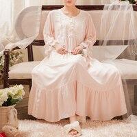 New Nightdress Long Gowns Women Sleepwear Ladies Long Nightgown Elegant Sleepwear Ankle Length Gown Princess L Dress 3 color