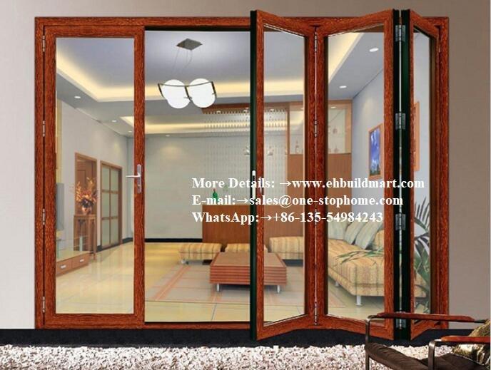 Portes pliantes avec volet et stores internes, portes coulissantes en verre, portes françaises intérieures en aluminium noir, portes françaises