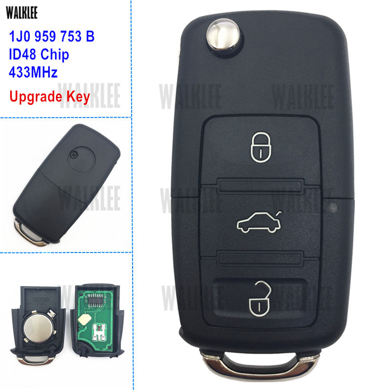 WALKLEE 1J0959753B 1J0 959 753 B 1JO Upgrade Remote Key 433MHz suit for VW/VOLKSWAGEN BEETLE BORA GOLF PASSAT POLO