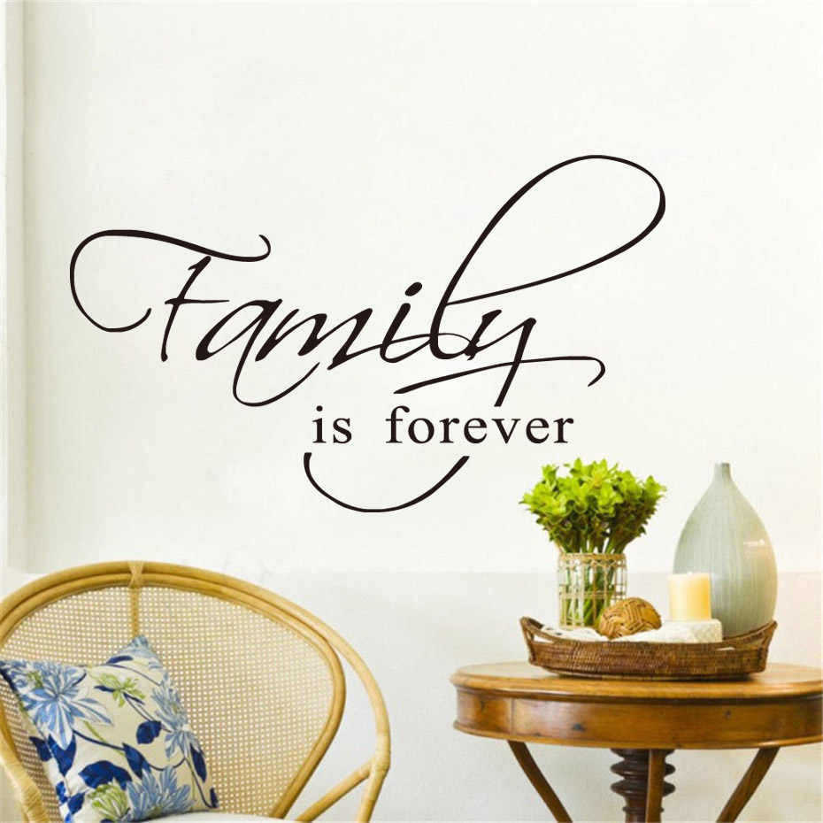 Family Is Forever Quote Black Vinyl Wall Sticker Arts Home Decor Living Room DIY Wall Decals Home Decoration