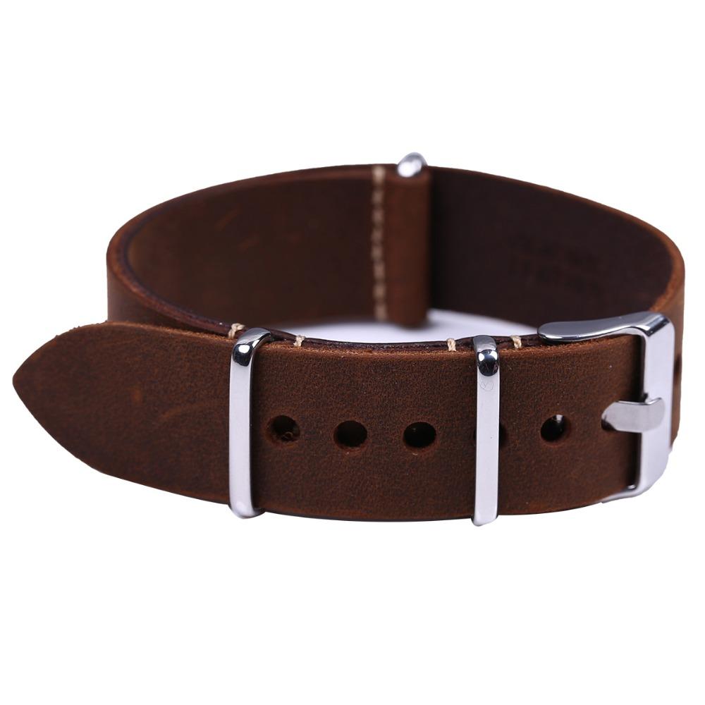 Prix pour Haute Qualité Vintage Crazy Horse Véritable Otan En Cuir Bracelet Brun Montre Sangles 18mm