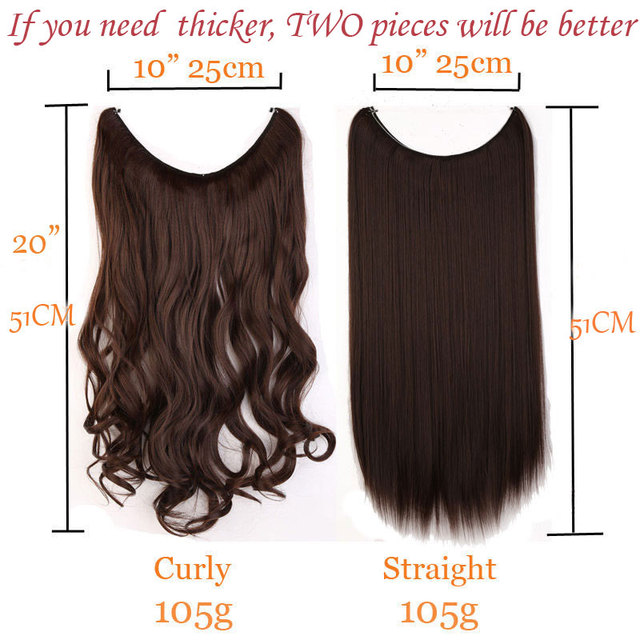 S-noilite 20 inches Invisible Wire No Clips in Hair Extensions Secret Fish Line Hairpieces Silky Straight real natural Synthetic 2